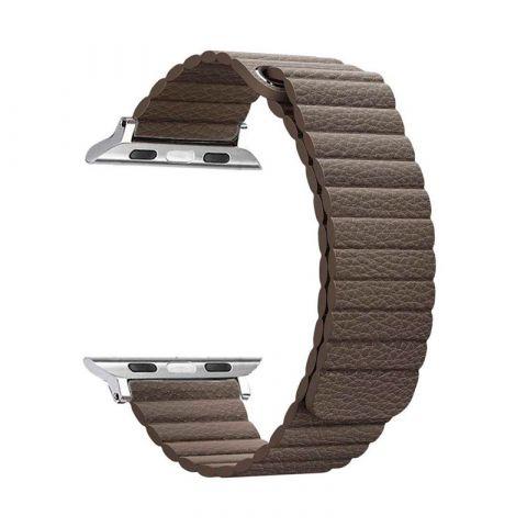 Ремешок для Apple Watch 42mm/44mm Magnetic Leather Loop-Brown