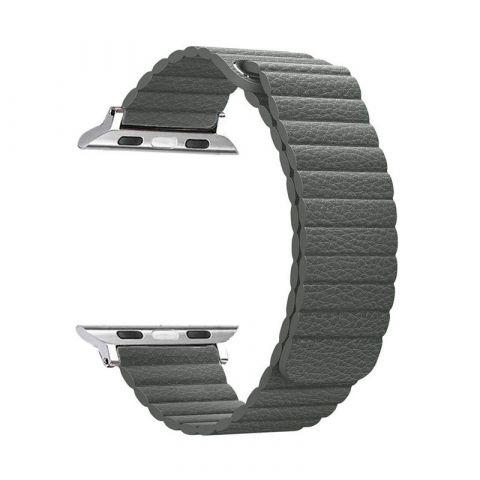 Ремешок для Apple Watch 42mm/44mm Magnetic Leather Loop-Gray