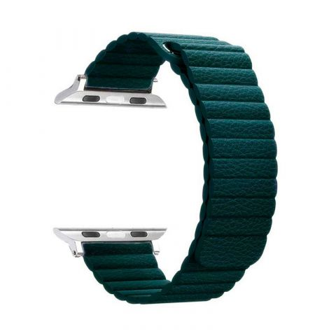 Ремешок для Apple Watch 38mm/40mm Magnetic Leather Loop-Green