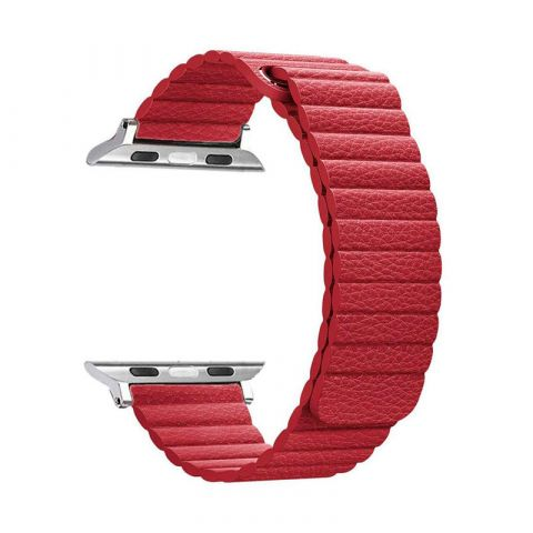 Ремешок для Apple Watch 42mm/44mm Magnetic Leather Loop-Red