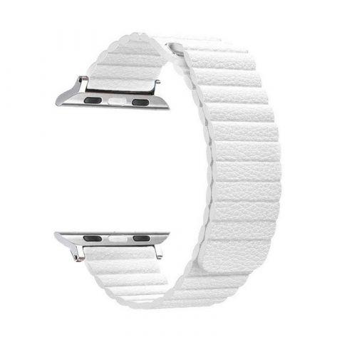 Ремешок для Apple Watch 42mm/44mm Magnetic Leather Loop-White