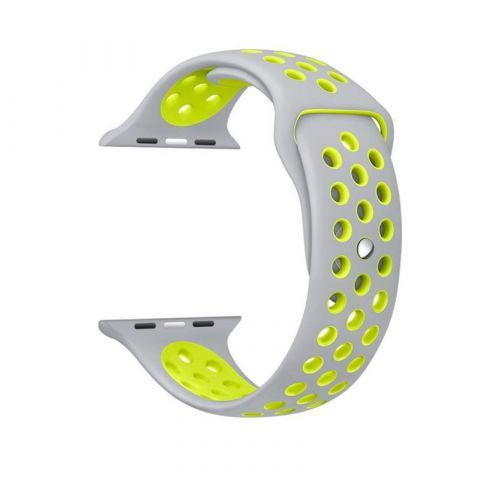 Ремешок для Apple Watch 38mm/40mm Nike Sport Band-Silver/Volt