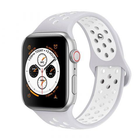 Ремешок для Apple Watch 42mm/44mm Nike Sport Band-Silver/White
