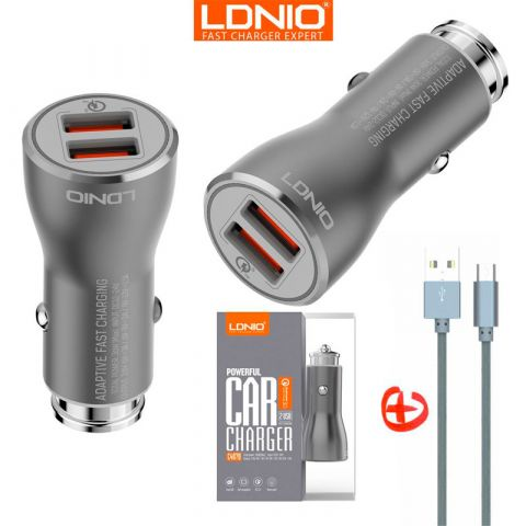 Автомобильная зарядка LDNIO C407Q 3A Quick Charge 3.0 Fast Charging 2 USB + кабель Microusb