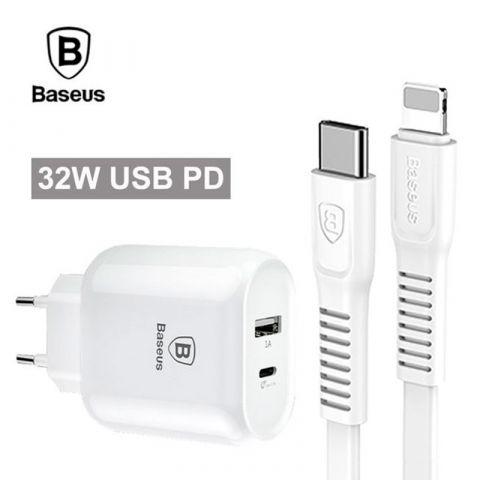 Сетевое зарядное устройство Baseus Bojure Quick Charge 3A 32W white с кабелем Type-C to Lightning в комплекте