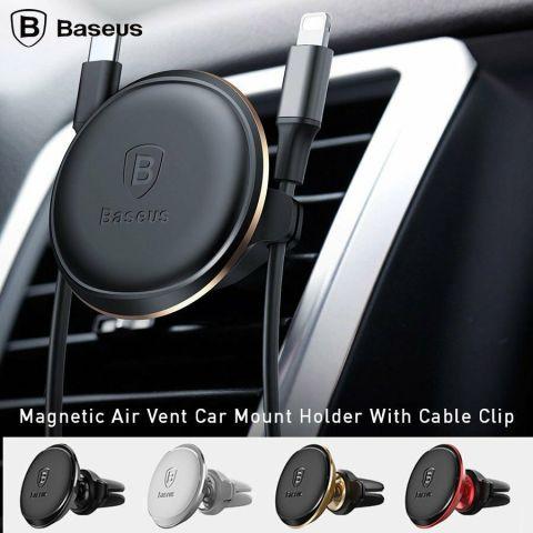 Магнитный автодержатель для смартфона Baseus Magnetic Air Vent с фиксатором кабеля