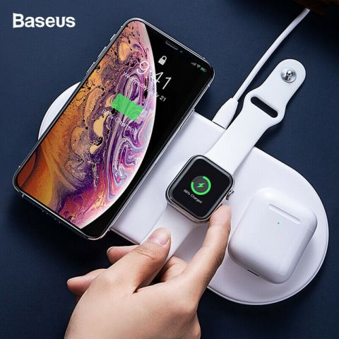 Беспроводная зарядка Baseus Smart 3in1 iPhone+iWatch+AirPods 18W White