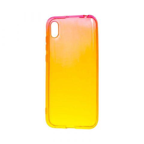 Силиконовый чехол на Huawei Y5 2019 Gradient Design-Red/Yellow