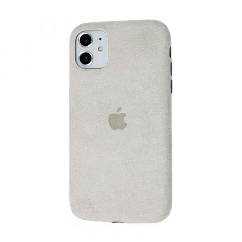 Замшевый чехол для iPhone 11 Alcantara-Gray