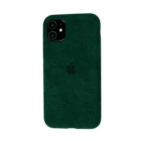 Замшевый чехол для iPhone 11 Alcantara-Pine Green