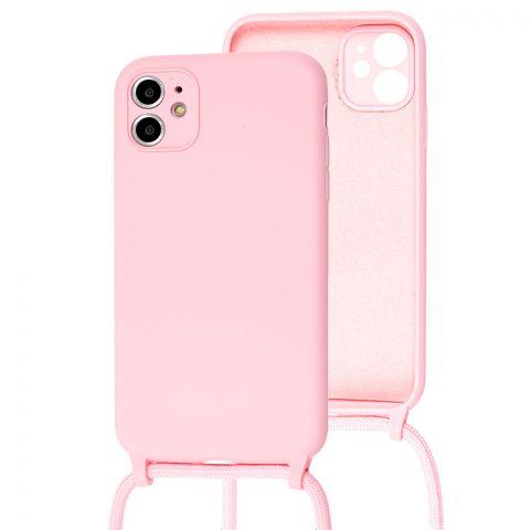 Чехол для iPhone 11 Lanyard Ожерелье со шнурком-Light Pink