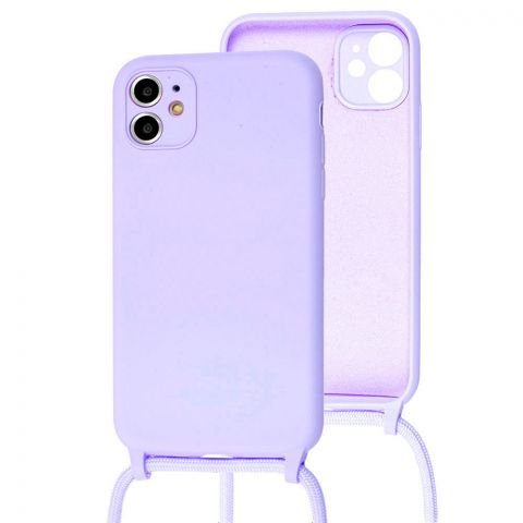 Чехол для iPhone 11 Lanyard Ожерелье со шнурком-Light Violet