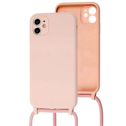 Чехол для iPhone 11 Lanyard Ожерелье со шнурком-Pink Sand