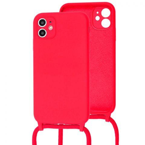 Чехол для iPhone 11 Lanyard Ожерелье со шнурком-Rose Red