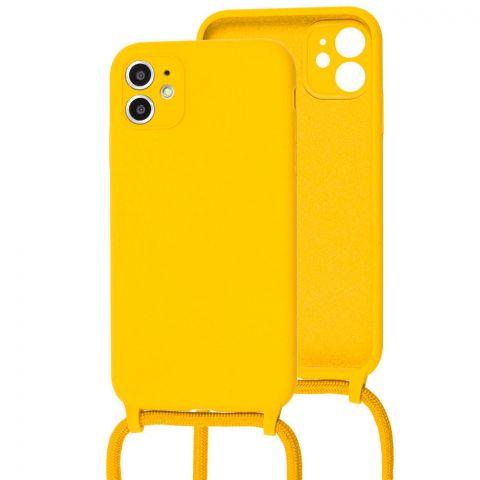 Чехол для iPhone 11 Lanyard Ожерелье со шнурком-Yellow