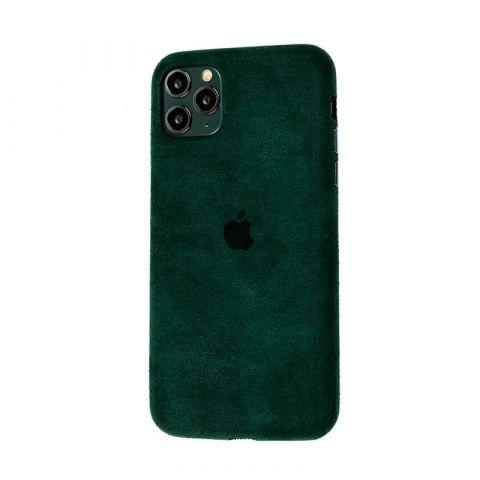 Замшевый чехол для iPhone 11 Pro Alcantara-Pine Green
