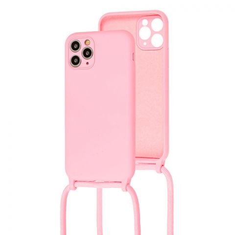 Чехол для iPhone 11 Pro Max Lanyard Ожерелье со шнурком через плечо-Light Pink