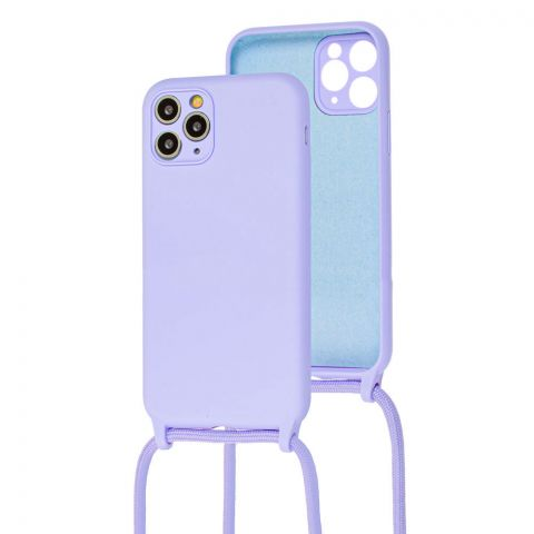 Чехол для iPhone 11 Pro Max Lanyard Ожерелье со шнурком через плечо-Light Violet