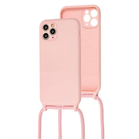 Чехол для iPhone 11 Pro Max Lanyard Ожерелье со шнурком через плечо-Pink Sand