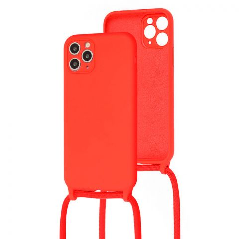 Чехол для iPhone 11 Pro Max Lanyard Ожерелье со шнурком через плечо-Red