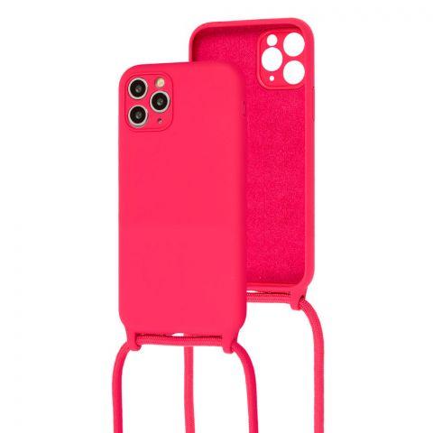 Чехол для iPhone 11 Pro Max Lanyard Ожерелье со шнурком через плечо-Rose Red