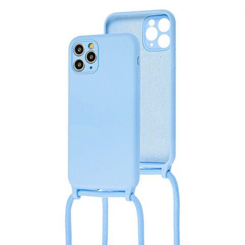 Чехол для iPhone 11 Pro Max Lanyard Ожерелье со шнурком через плечо-Sky Blue