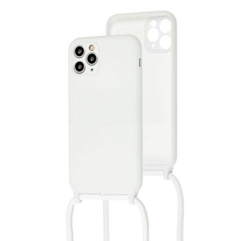 Чехол для iPhone 11 Pro Max Lanyard Ожерелье со шнурком через плечо-White