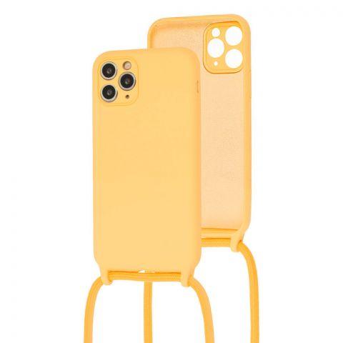 Чехол для iPhone 11 Pro Max Lanyard Ожерелье со шнурком через плечо-Yellow