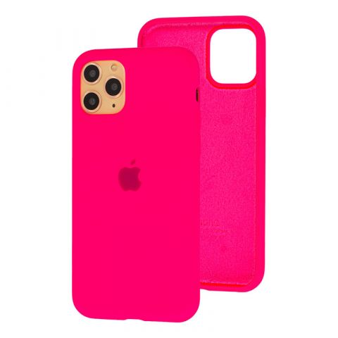Силиконовый чехол для iPhone 11 Pro Max Silicone Case Full (с закрытой нижней частью)-Electric Pink