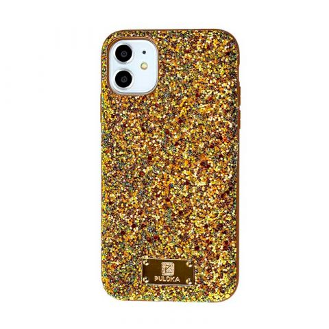 Чехол для iPhone 11 Puloka Macaroon с блестками-Gold