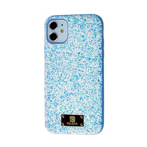 Чехол для iPhone 11 Puloka Macaroon с блестками-Light Blue