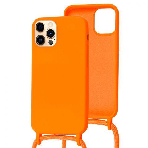 Чехол для iPhone 12 / 12 Pro Lanyard Ожерелье со шнурком через плечо-Orange
