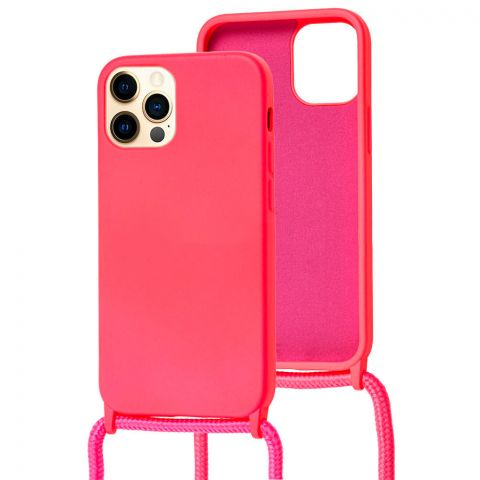 Чехол для iPhone 12 / 12 Pro Lanyard Ожерелье со шнурком через плечо-Pink
