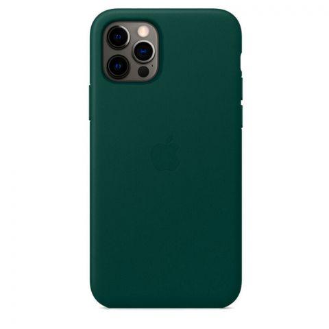Кожаный чехол для iPhone 12 / 12 Pro Leather Case with MagSafe-Forest Green