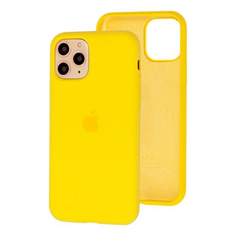 Силиконовый чехол для iPhone 12 / 12 Pro Silicone Case Full (с закрытой нижней частью)-Canary Yellow
