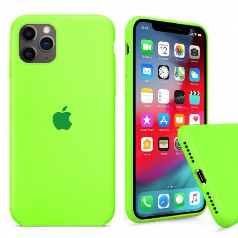 Силиконовый чехол для iPhone 12 / 12 Pro Silicone Case Full (с закрытой нижней частью)-Lime