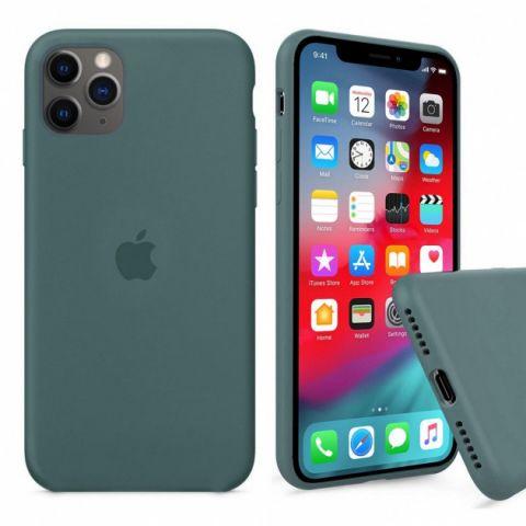 Силиконовый чехол для iPhone 12 / 12 Pro Silicone Case Full (с закрытой нижней частью)-Pine Green