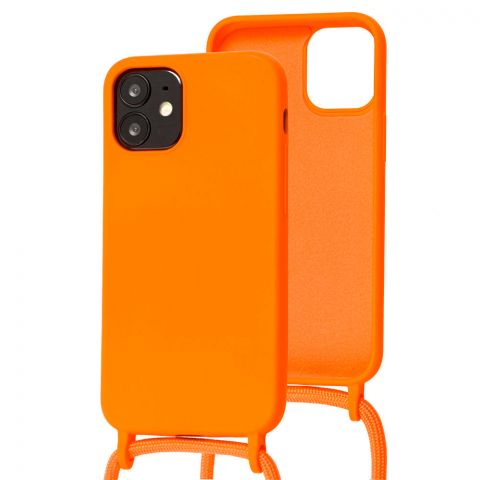 Чехол для iPhone 12 Mini Lanyard Ожерелье со шнурком через плечо-Orange