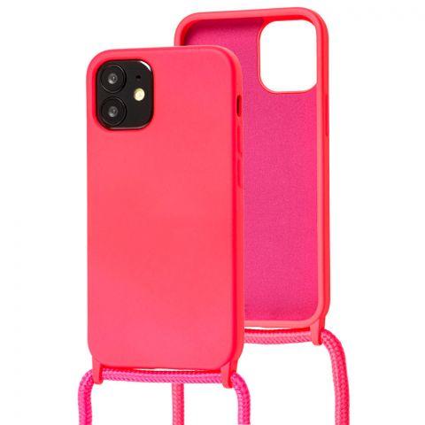 Чехол для iPhone 12 Mini Lanyard Ожерелье со шнурком через плечо-Pink