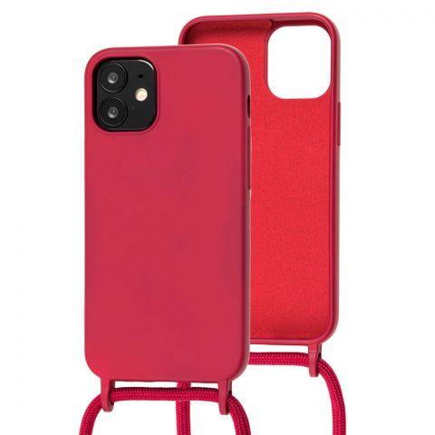 Чехол для iPhone 12 Mini Lanyard Ожерелье со шнурком через плечо-Rose Red
