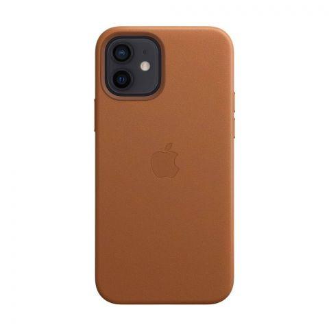 Кожаный чехол для iPhone 12 Mini Leather Case with MagSafe-Saddle Brown