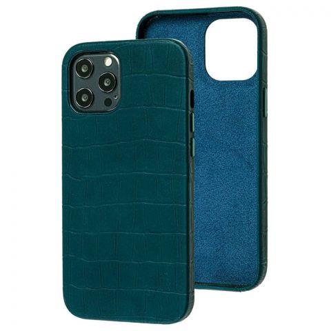 Кожаный чехол для iPhone 12 Mini Leather Crocodile Case-Forest Green