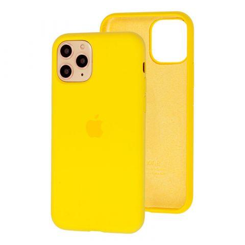 Силиконовый чехол для iPhone 12 Mini Silicone Case Full (с закрытой нижней частью)-Canary Yellow