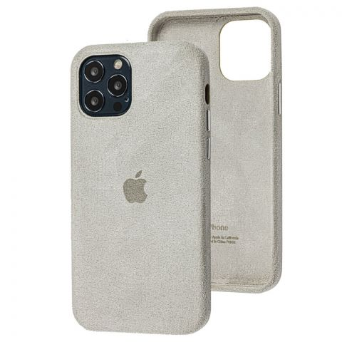 Замшевый чехол для iPhone 12 Pro Max Alcantara-Stone