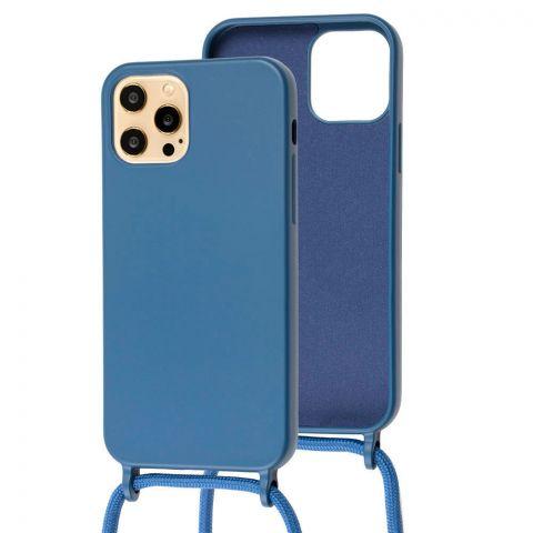 Чехол для iPhone 12 Pro Max Lanyard Ожерелье со шнурком через плечо-Blue Cobalt