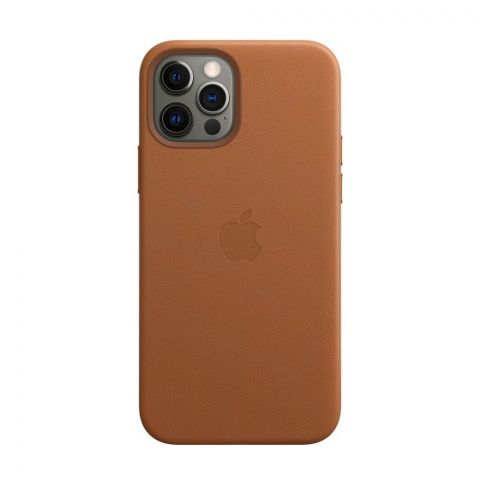 Кожаный чехол для iPhone 12 Pro Max Leather Case with MagSafe-Saddle Brown