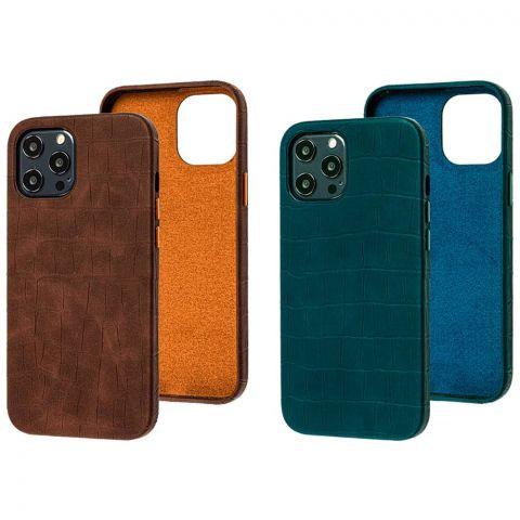 Кожаный чехол для iPhone 12 Pro Max Leather Crocodile Case