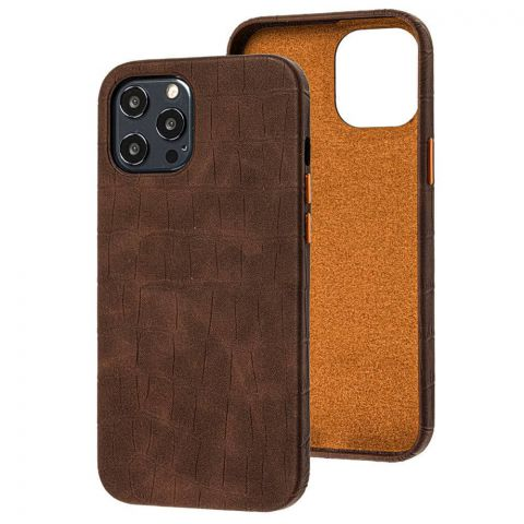 Кожаный чехол для iPhone 12 Pro Max Leather Crocodile Case-Brown