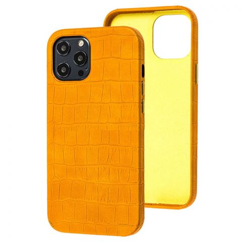 Кожаный чехол для iPhone 12 Pro Max Leather Crocodile Case-Yellow