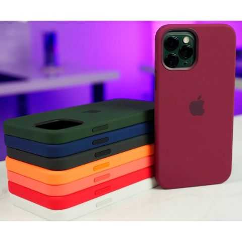 Силиконовый чехол для iPhone 12 Pro Max Silicone Case Full (с закрытой нижней частью)